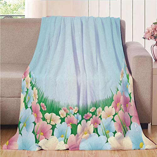 Throw Blanket Super Soft and Cozy Fleece Blanket Perfect for Couch Sofa or Bed,Garden,Curvy Fresh Meadow with Pastel Colored Daisies Pansies Yard Growth Countryside Art,Multicolor,47.25