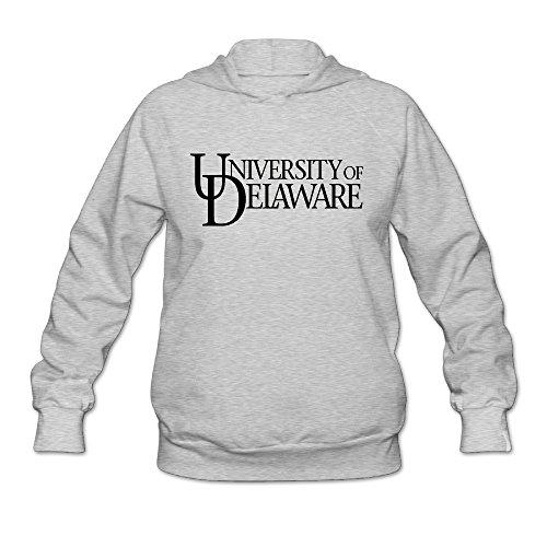 PHOEB Womens Sportswear Drawstring Hooded Sweatshirt,UD University Of Delaware Ash Medium