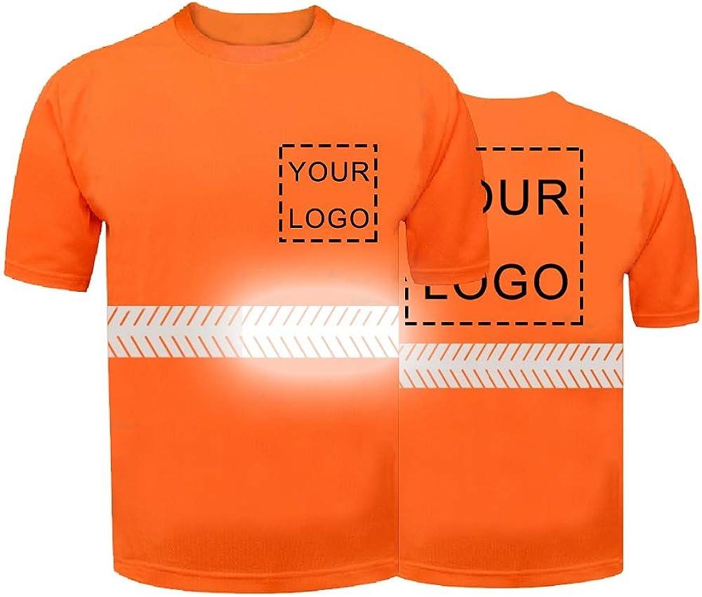 Personalizado de alta visibilidad hombres manga corta camiseta añadir su texto/logotipo en la camisa de trabajo de seguridad reflectante Hi Vis seguridad camisa: Amazon.es: Ropa y accesorios