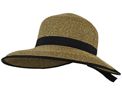 Kallina Brown UPF 50+ Ponytail Cloche Straw Sun Hat - Adjustable Beach & Garden Cap