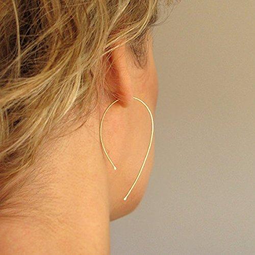 Unique Wishbone Earrings - Modern Gold Hoops - Teardrop Open Hoops