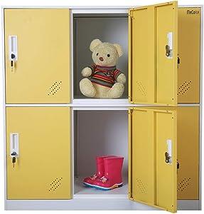 Steel Office Locker Cabinet with Keys, School and Home Storage Locker Organizer,Kids Locker for Cloth and Toy Organizer,Living Room Boy and Girl Metal Storage Locker Cabinet (Yelllow)