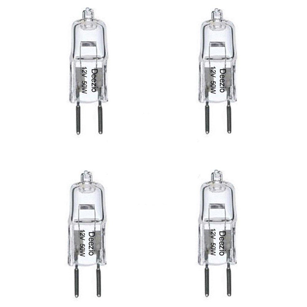 Deezio 12 Volt 50 Watts GY6.35 T4 Halogen Light Bulb with Glass 2 Pin 300 900 Lumens 3000K Bulb Color Temp 4 Pack