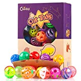 Chiwava 48 Pack Cat Plastic Noisy Cat Toy Balls with Rattle Bell Kitten Chase Pounce play Assorted Species