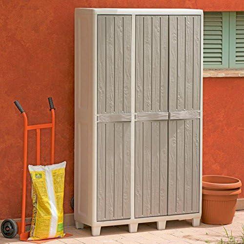 Florida - Armario de resina escobero, con 3 puertas y estantes, de 97 x 38 x 178 (alto) cm, color gris/gris ceniciento: Amazon.es: Jardín