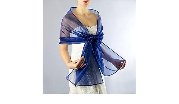Chal organza color azul novia boda novia para vestido de fiesta: Amazon.es: Handmade