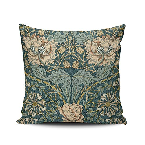 (KAQIU Home Decoration Pillowcase Cover Teal Vintage Tulips by William Morris Custom Pillow case Cushion Fashion Chic Double Sided Printed Design Square Size 18x18 Inch)