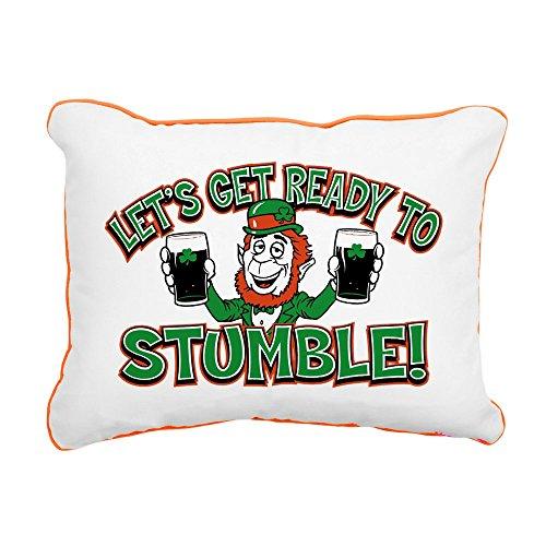 Rectangular Canvas Throw Pillow Orange Ready To Stumble Irish Shamrocks ()
