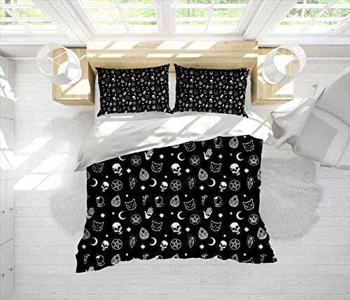 Fonkane Witch Pattern Modern 3-Piece Bedding Duvet Cover