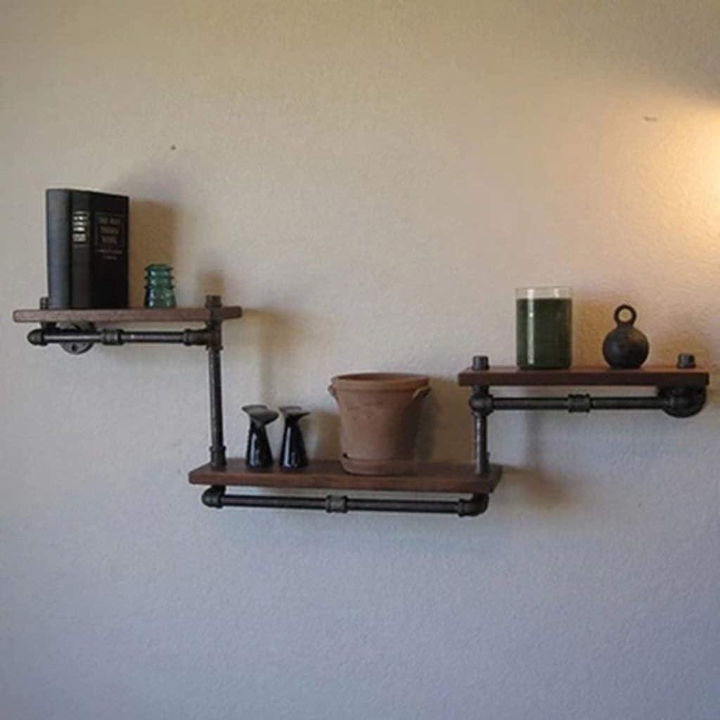 レトロな産業風の壁の装飾錬鉄製の純木の仕切りの棚の花の立場