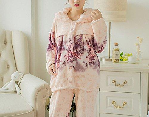 QPALZM Japón Y Corea Del Sur En Otoño E Invierno Pijamas De Franela Caliente Del Ms Mujeres Embarazadas Lightpink