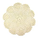 Wrapables Round Crochet Cotton Doily Placemat, Large, Beige, Set of 4