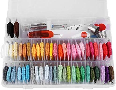 Borduurnaald naaldborduurwerk stempelnaald 50 kleuren garens met transparante doos voor borduurliefhebbers voor doehetzelfhandwerken