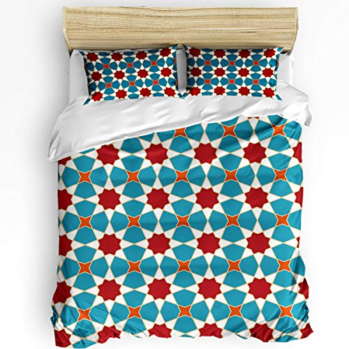 SUN-Shine 3 Pieces Bedding Sets Arabic Style Bedroom Ultra Soft Luxurious Quilt Cover with 2 Pillowcases Durable Duvet Cover Set King Size Abstract Geometric Polygon Pattern