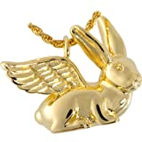 Memorial Gallery 3103gp Pet Rabbit Ears Up 14K Gold/Sterling Silver Plating Cremation Pet Jewelry