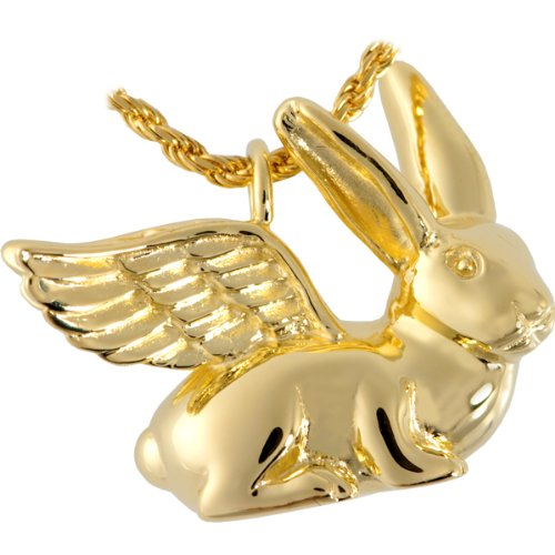 Memorial Gallery 3103gp Pet Rabbit Ears Up 14K Gold/Sterling Silver Plating Cremation Pet Jewelry by Memorial Gallery