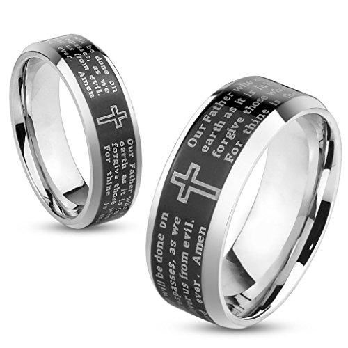 Jinique STR-0324 Stainless Steel Lords Prayer Black IP Beveled Edge Ring