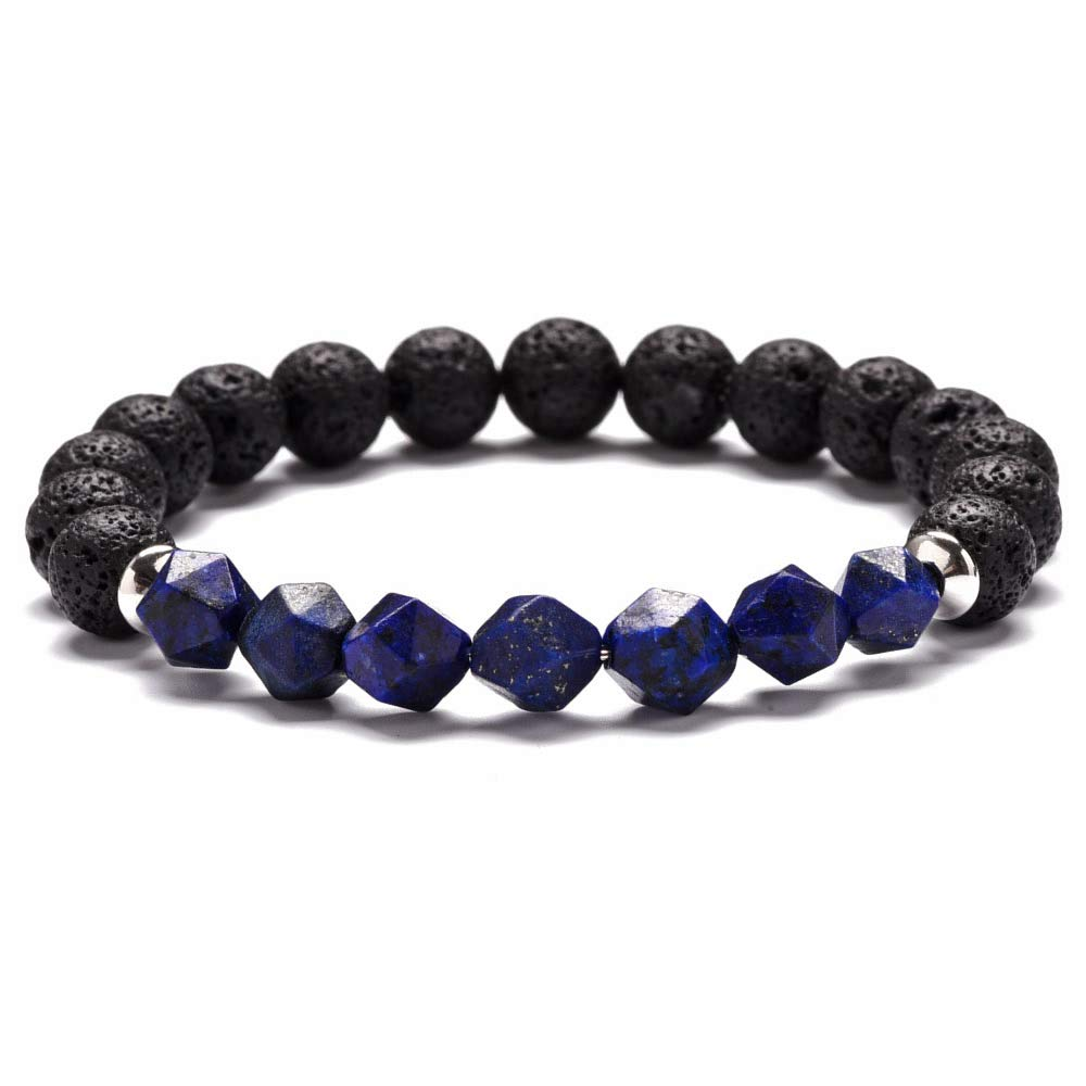 Gemsfly Stainless Steel Beads Round Ball Beaded Natural Amethyst Agate Quartz Stone Stretch Wristband Bracelets