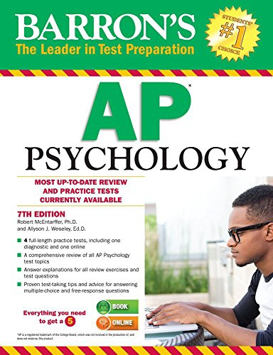 "Barron's AP Psychology, 7th Edition by [""Allyson Weseley Ed.D."", ""Robert McEntarffer""] cover"