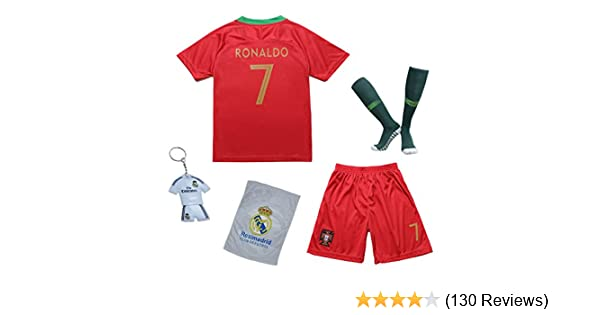 140c608ea Amazon.com   KID BOX 2018 Portugal Cristiano Ronaldo  7 Home Red Kids  Soccer Football Jersey Gift Set Youth Sizes   Sports   Outdoors