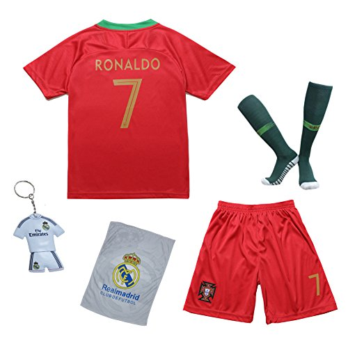 KID BOX 2018 Portugal Cristiano Ronaldo #7 Home Red Kids Soccer Football Jersey Gift Set Youth Sizes (Red (2018), 5-6 Years)