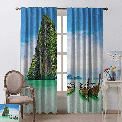 youpinnong Island, Curtains Valance, Limestone Rock in The Sea with Boats Tranquil Heaven Coast with Horizon Off Nature Photo, Curtains Kitchen Valance, W96 x L96 Inch, Multi