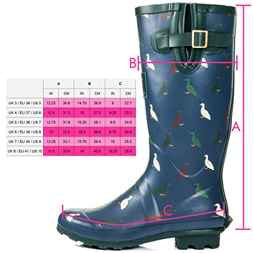 Green Duck Women's Adjustable Rain Flat Welly IGLOO Boots SPYLOVEBUY Buckle 8wv1z