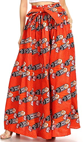 Sakkas 16317 - Asma Convertible Traditional Wax Print Adjustable Strap Maxi Skirt | Dress - 1027-Multi - OS