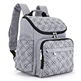 Diaper Bag Backpack With Baby Stroller Straps By HYBLOM, Stylish Travel Designer And Organizer For Women & Men, 12 Pockets, Grey Image