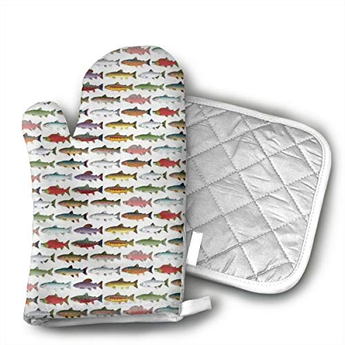 - QEDGC Rainbow Colored Trout and Salmon Oven Mitts Non-Slip for Home Kitchen Cooking Barbecue Microwave for Women/Men Machine Washable BBQ