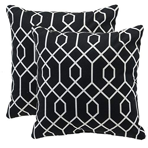 MISC Set of 2 Black Geo Outdoor Throw Pillows Square Reversible White Cross Hexagonal Geometric Print Accent Cushions, 16x16