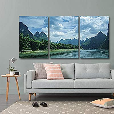 Amazing Style, Crafted to Perfection, 3 Panel Mountain Landscape with Green Plants and Clear River x 3 Panels
