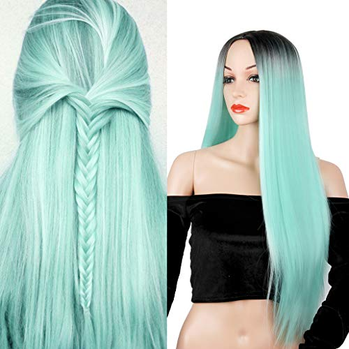 Ombre Green Long Straight Wig Colorful Middle Part Heat Resistant Synthetic Fiber Full Wigs for Woman Wigs Party Cosplay Daily Wig with Dark Roots Natural Looking Wig(Mint Green) -