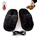 Heated Warm cold weather shoes,Kamlif Comfortable Plush USB Electric Heating Slippers Shoes to Keep Feet Warm ( Black )