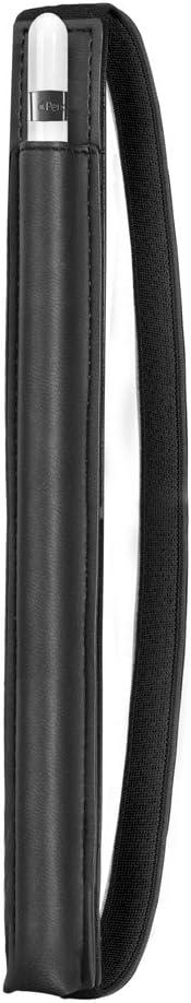 "Doormoon Pencil Holder Compatible with Apple iPad 2018 (6th Gen)/ iPad Air/ 9.7 / Pro 9.7""/ Pro 10.5""/12.9""/Pro 12.9/,Detachable Elastic Apple Pencil 2nd Gen Leather Sleeve Pocket Pouch-Black"