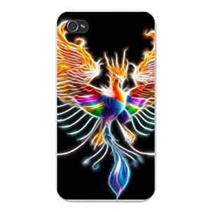 Apple Iphone Custom Case 4 4s White Plastic Snap on - Phoenix Greek Mythology Bird on Fire Colorful