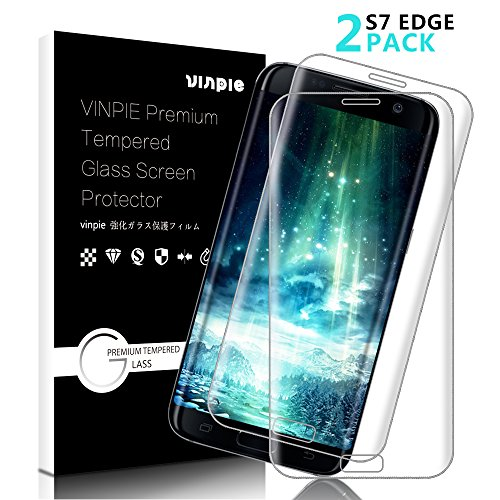 Galaxy S7 Edge Screen Protector, Vinpie [2-Pack] 9H HD Clear Full Coverage Tempered Glass Screen Protector Film Anti-Scratch, Anti-Fingerprint, Anti-Bubble for Galaxy S7 Edge