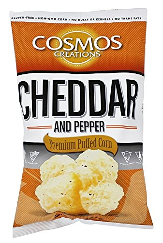 (Cosmos Creations Premium Puffed Corn - Cheddar and Pepper Popcorn Without Hulls - Gluten-Free Snack - 7 Ounces)