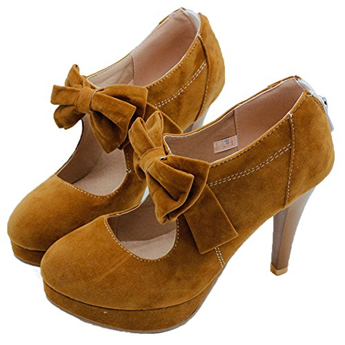 1yellow Women's Party Bowtie Strap High Janes Big Pumps Size Concise Daily Rhinestone Buckle Heels DecoStain Mary HBFTg