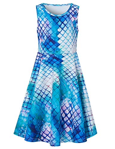 Goodstoworld Summer Dresses for Girls Blue Mermaid Dress Rainbow Fish Scale Sleeveless Casaul Church Party Twirl Dress School Student Stylish Colorful Midi Dress 10-13 -