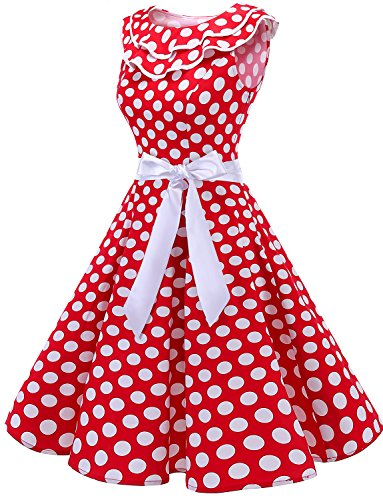 sans Vintage White Robe Manches 50 Dot de Cocktail Bridesmay volante soire Red annes Encolure SHpwwz