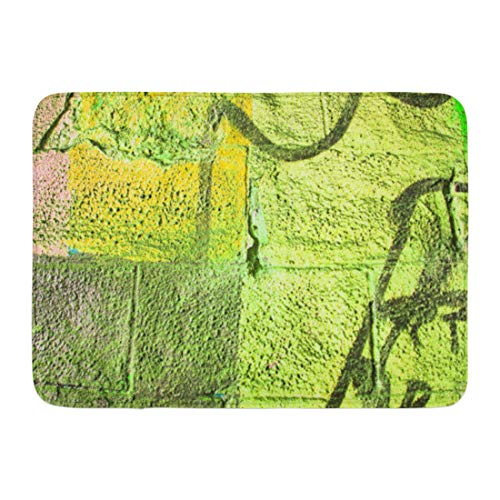 Aabagael Bath Mat Colorful Khaki Olive Drab and Dark Green Sprayed Graffiti on Aged Cracked Brick Wall with Drips Smears Bathroom Decor Rug 16