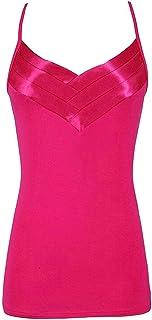 Vests Home Camisetas de Cami con Tirantes de Tanque Superior Activo con Correa de Espagueti para Mujer (Color : Rose Red, Size : X-Large)