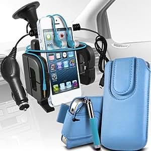 Nokia Lumia 510 premium protección PU botón magnético ficha de extracción Slip espinal en bolsa de la cubierta de piel de bolsillo rápido con aguja retractable de la pluma y universal de bicicletas Bike Mount Soporte ajustable de soporte Base del manillar Soporte rotación de 360 ??grados Baby Blue por Spyrox