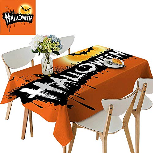 (UHOO2018 Square/Rectangle Tablecloth Waterproof Polyester Spooky Party Theme Flying Bats and Gloomy Full Moon Style Retro Wedding Birthday Party,50x 50inch)