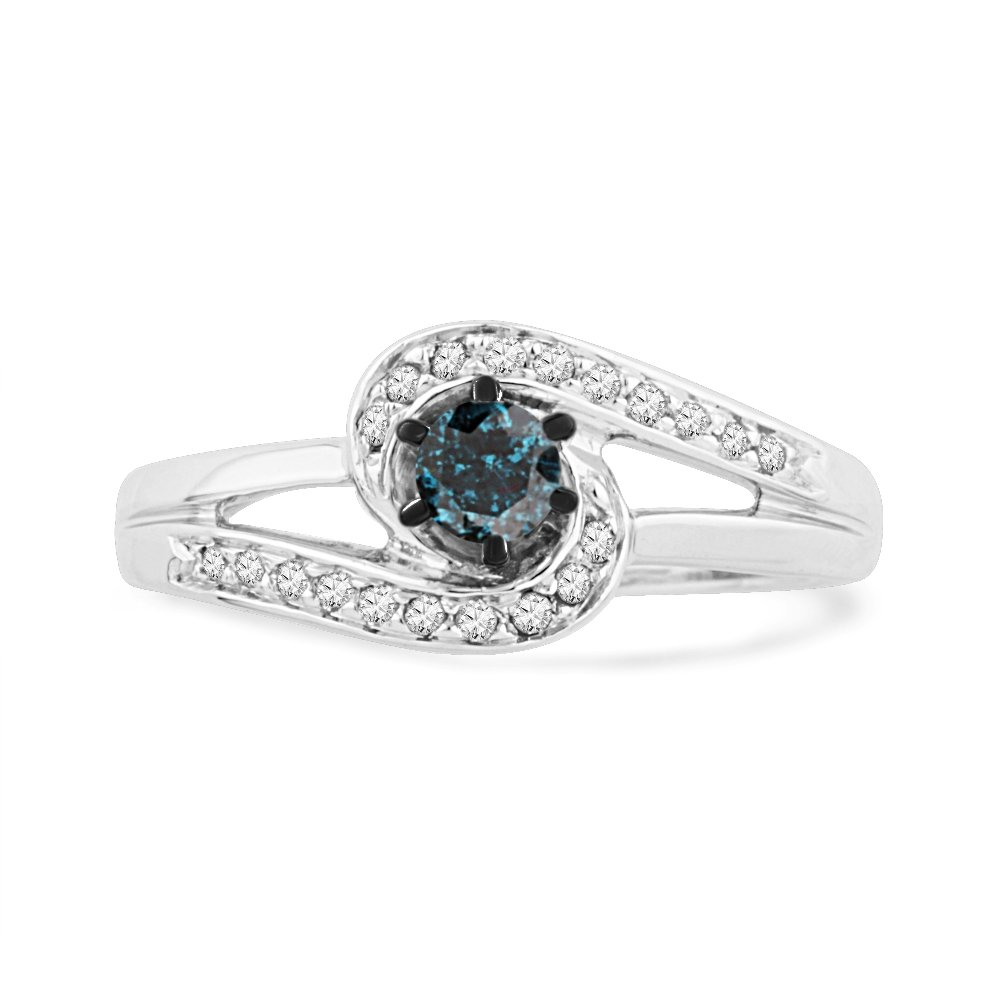 Sterling Silver Blue and Round Diamond Promise Ring (1/3 CTTW) by D-GOLD