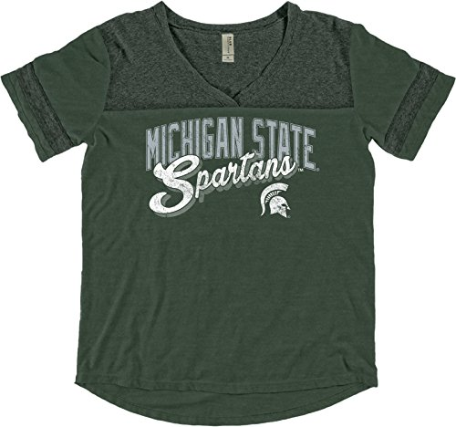 Blue 84 NCAA Michigan State Spartans Adult Women NCAA Women's Dyed Varsity Tee,Medium,Forest (Michigan State Stand)
