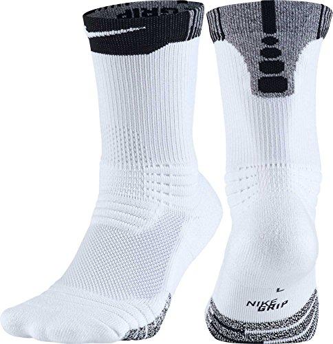 Nike GRIP Versatility Crew Basketball Socks, (White/Black, (Nike Grips)