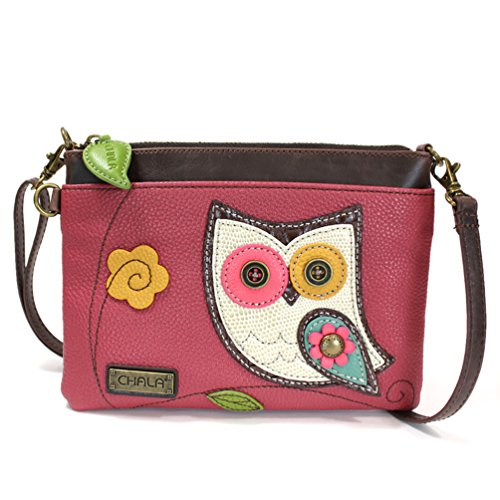 Chala Mini Cross-body Messenger Bag- Dark Pink-Owl