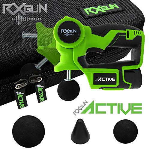 RxGun ACTIVE Percussion Professional Massager 3 Attachment Cordless Rechargeable Handheld Percussive Deep Tissue Body Neuromuscular Muscle Pounding Vibration Therapy Massage Gun ()